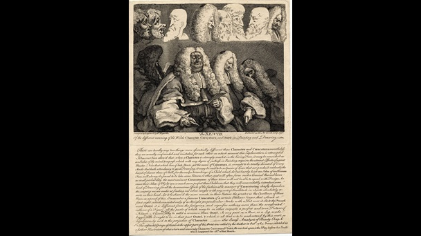 Print of an engraving from a painting depicting four inattentive judges listening to a case in the Court of Common Pleas, 1758, entitled The Bench by William Hogarth
