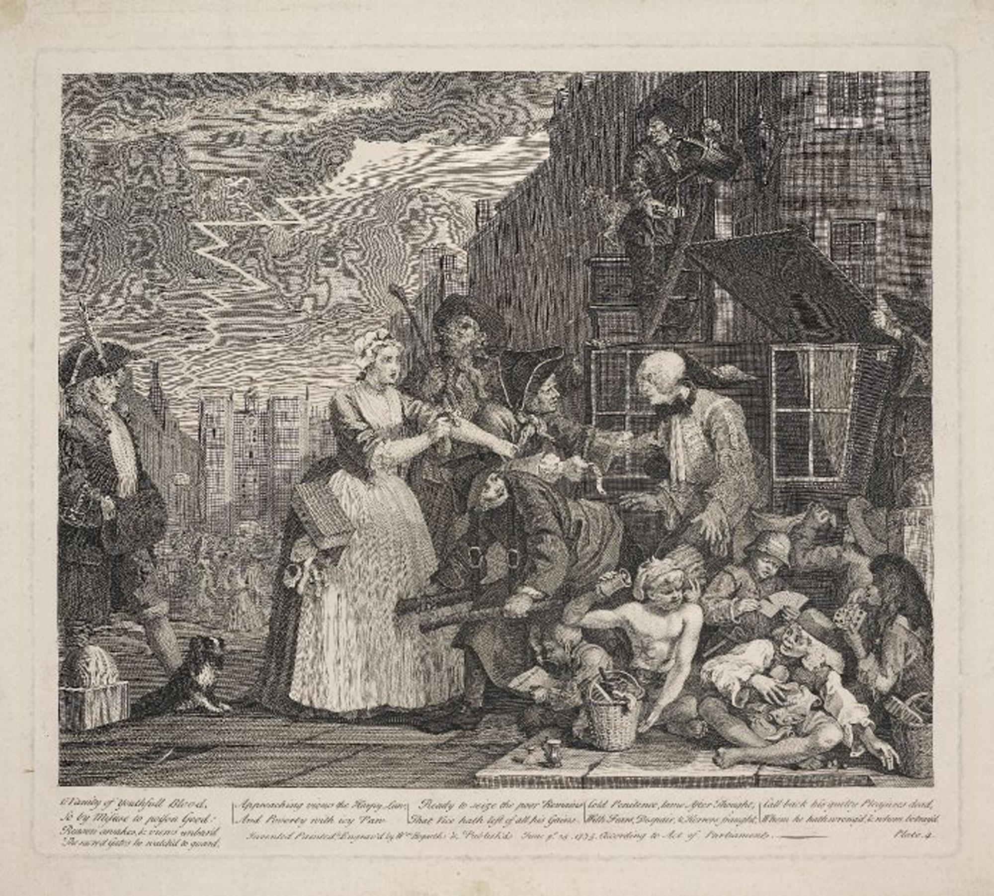 Arrested for debt, in Hogarth's Rake's Progress, 1735