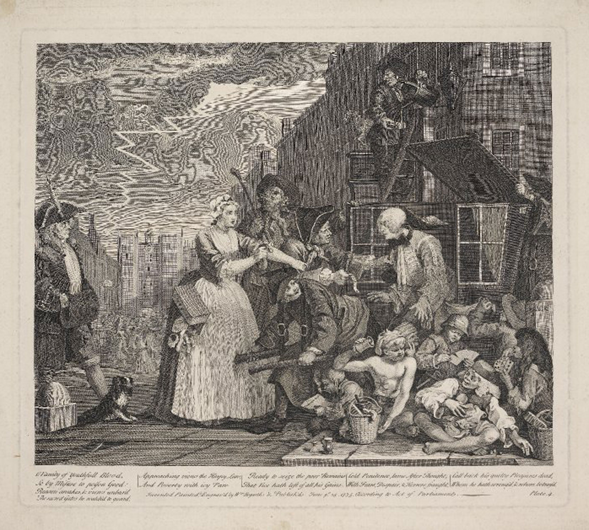 Arrested for debt, in Hogarth's Rake's Progress, 1735