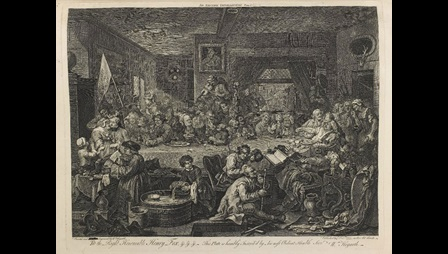 Bribery and debauchery at a Whig electioneering banquet, in Hogarth's An Election Entertainment, 1755