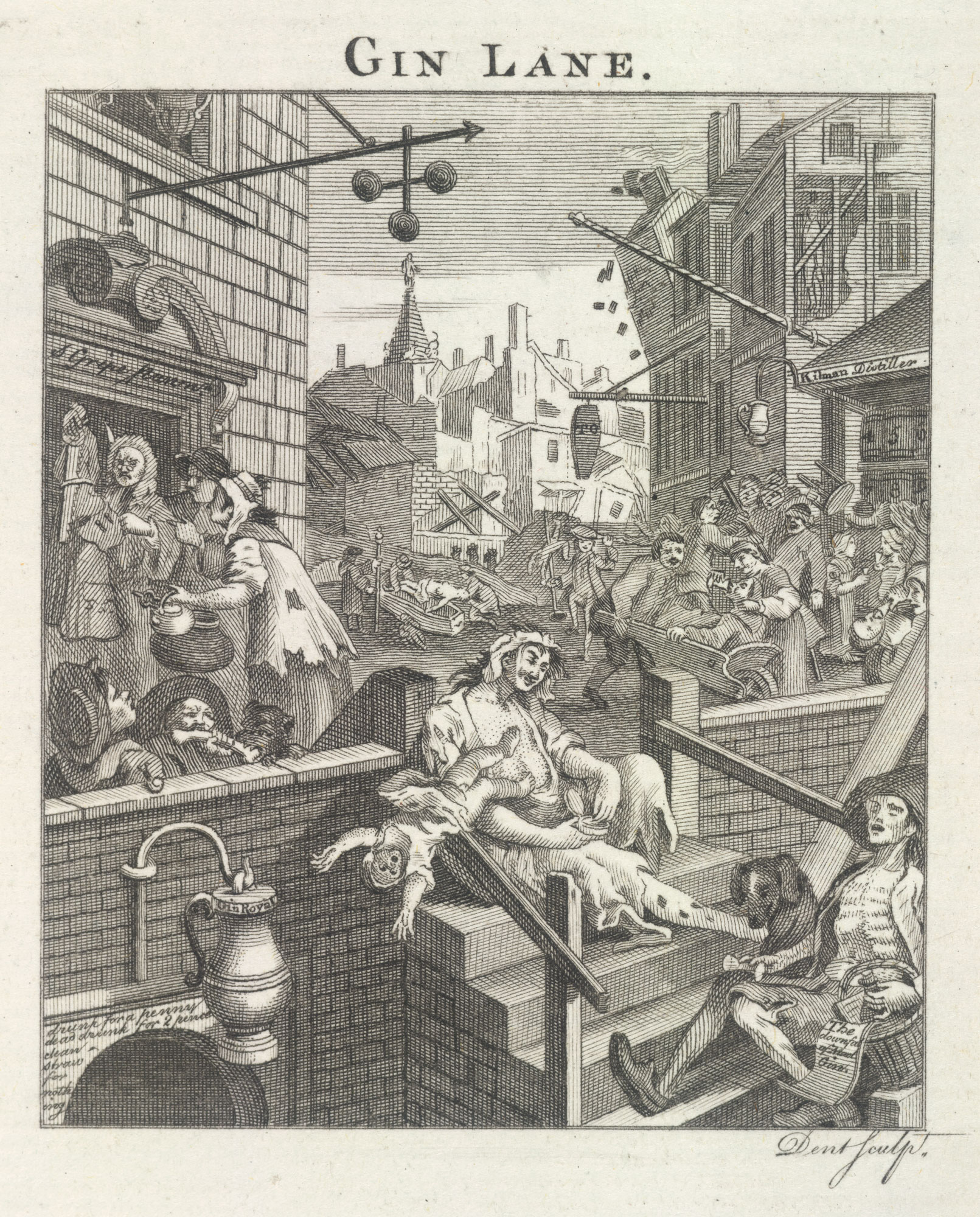 Hogarth's grim depiction of a society addicted to gin, 1768
