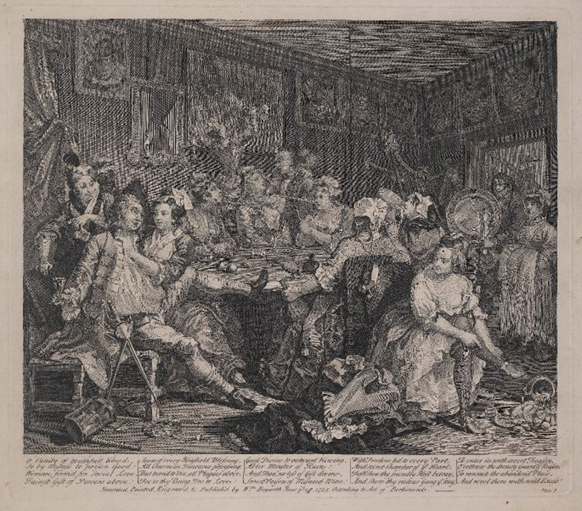 Scene of drunkenness and debauchery from Hogarth's Rake's Progress