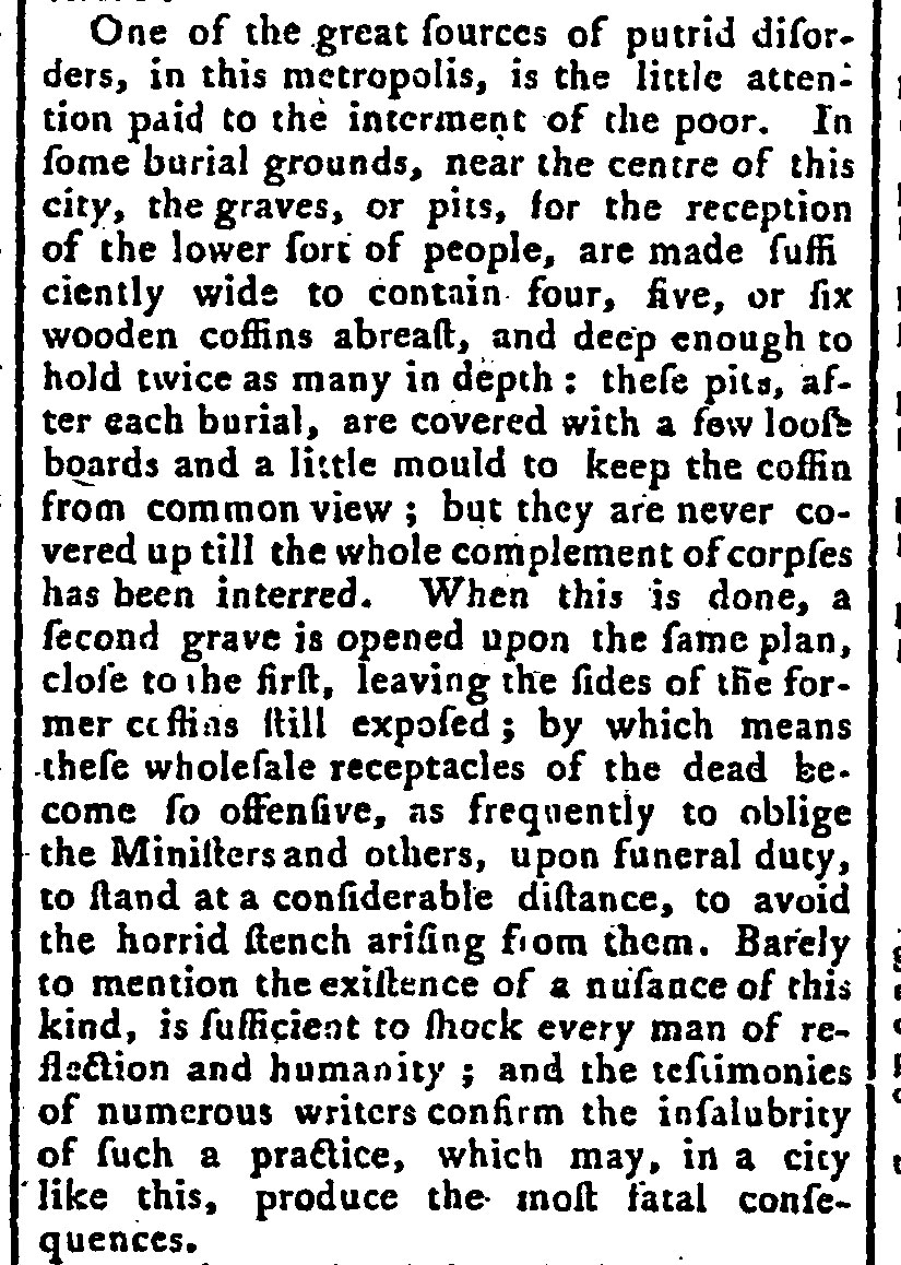 Article about the burial of the dead in London from the Morning Chronicle