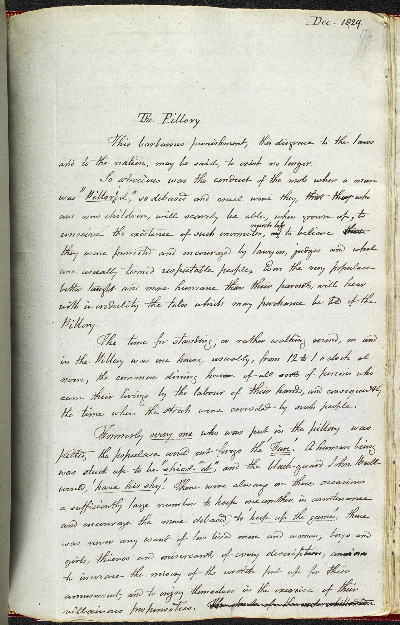 Extract from the diary of Francis Place describing the pillory, 1829