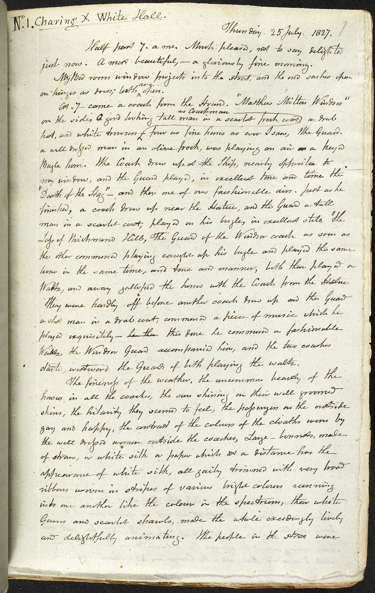 Extract from the diary of Francis Place describing a morning in London, 1827