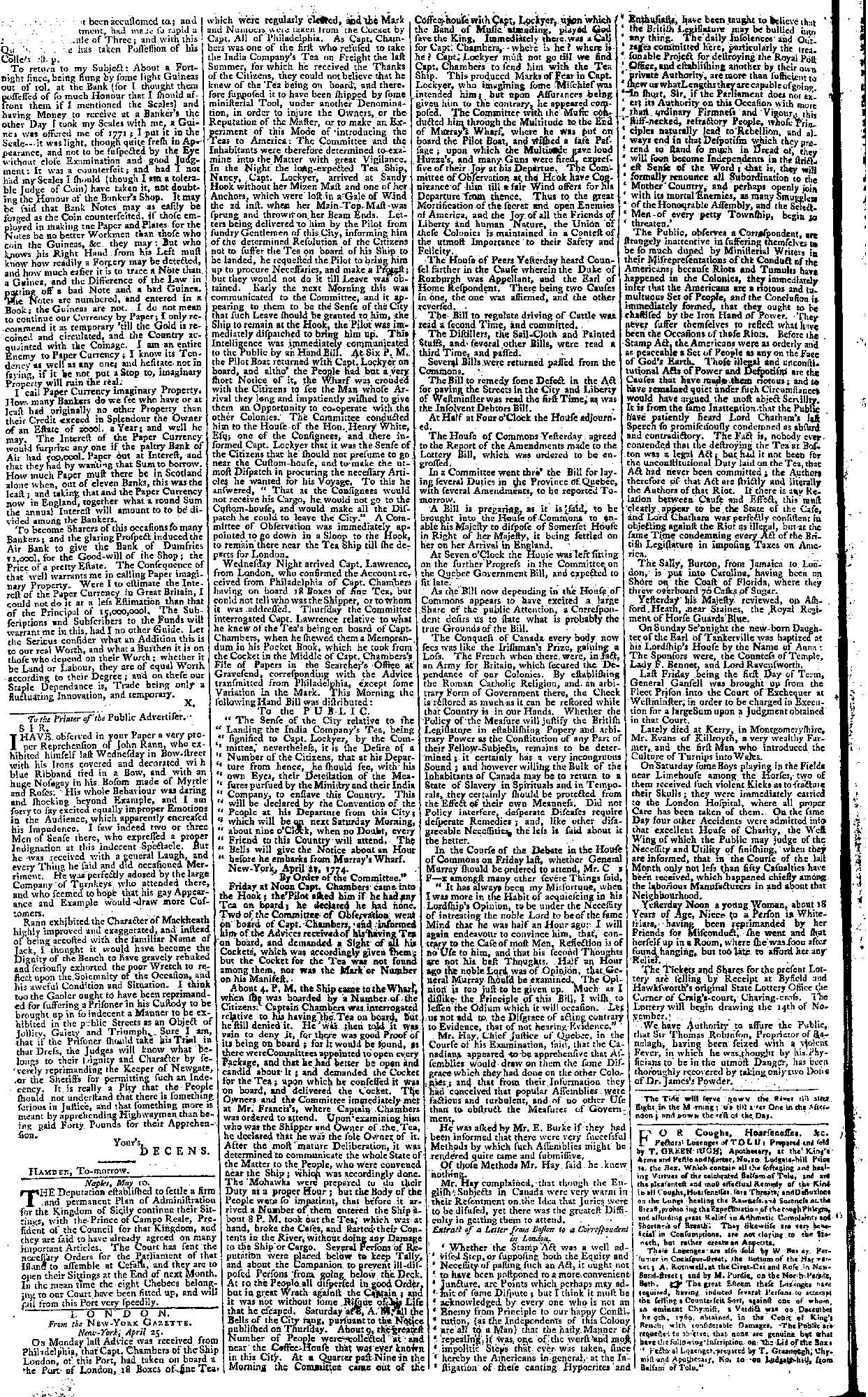 Letter to the Public Advertiser newspaper describing the notorious highwayman John Rann