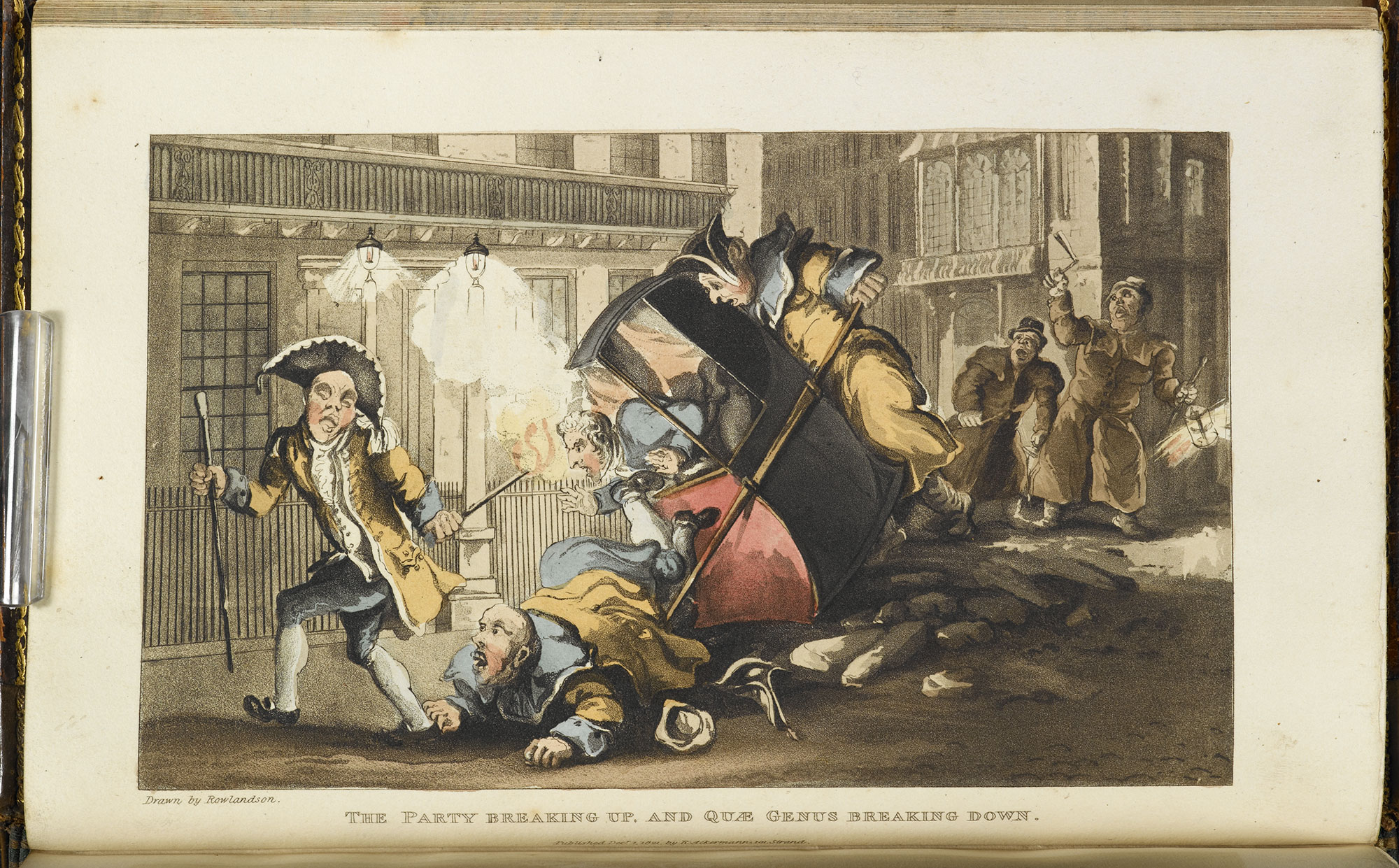'The party breaking up' by Thomas Rowlandson, a depiction of a traffic accident