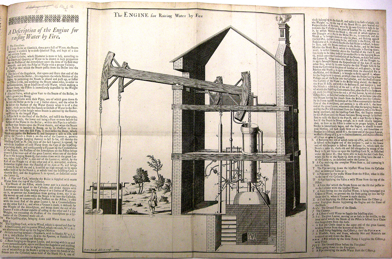 Early 18th century depiction of a steam engine