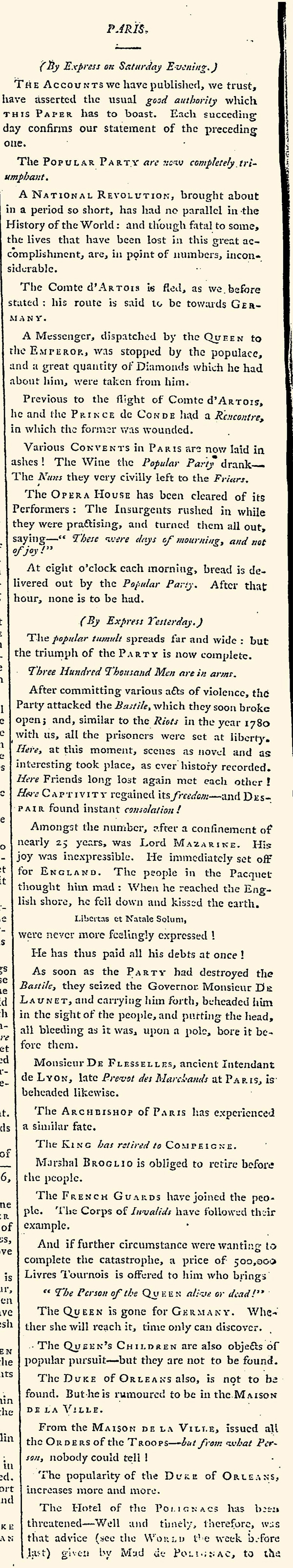 Newspaper account of the outbreak of the French Revolution