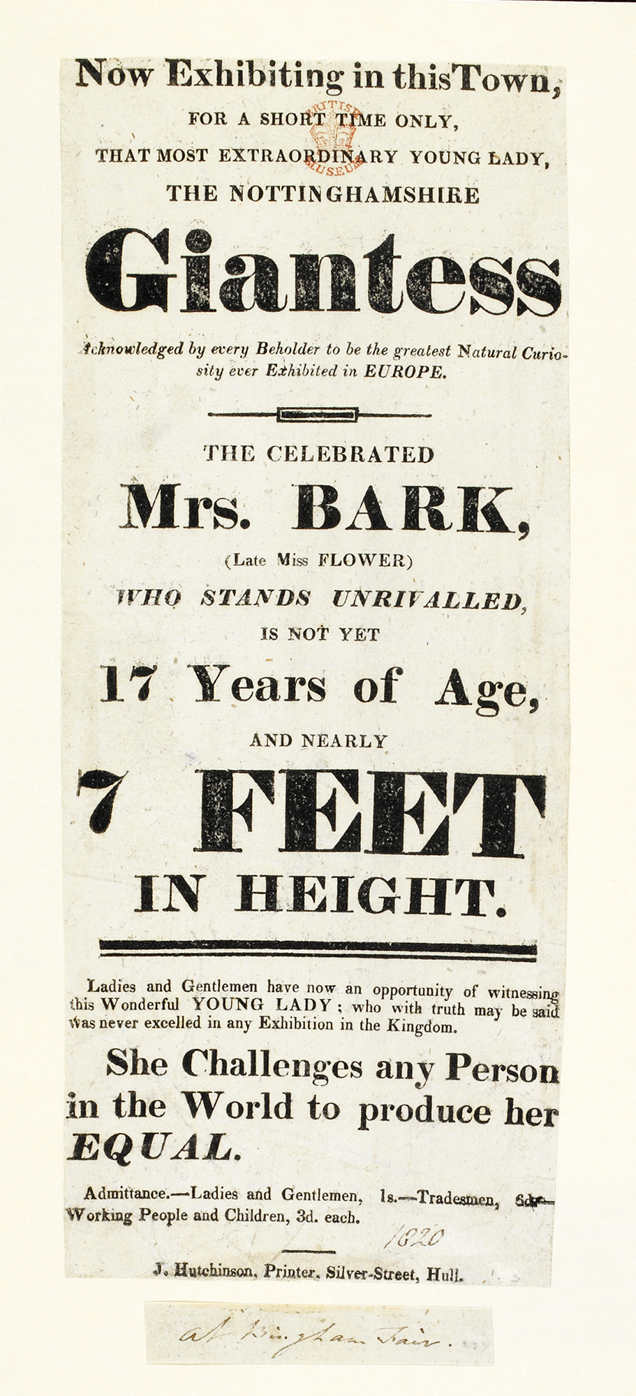 Poster advertising Mrs Bark, 'the Nottinghamshire Giantess'