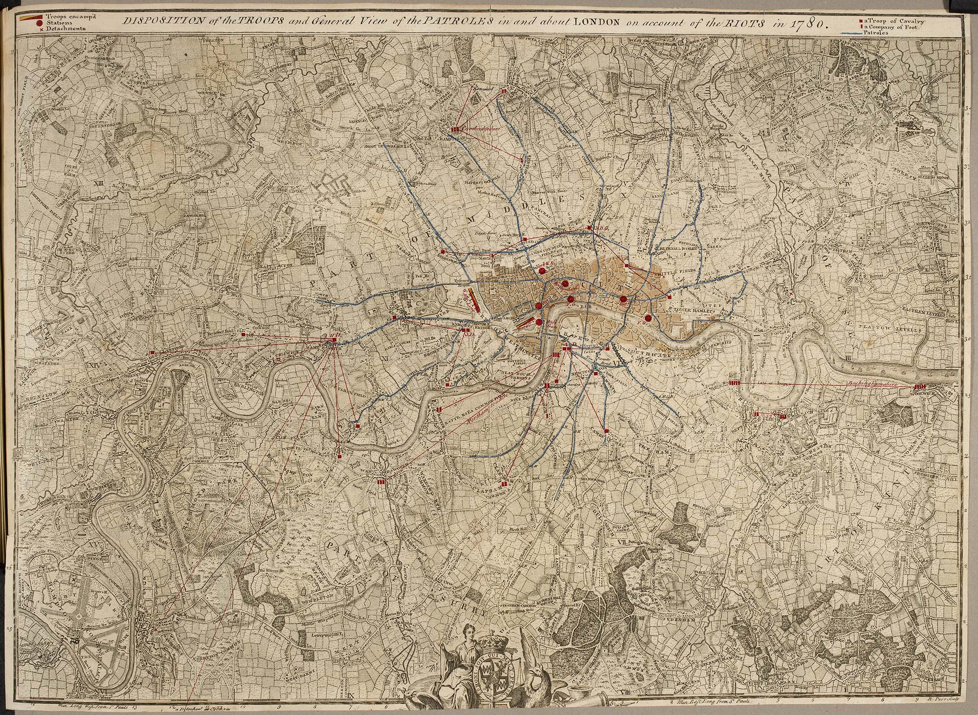 Military map showing the areas in which troops were deployed during the Gordon riots, 1780