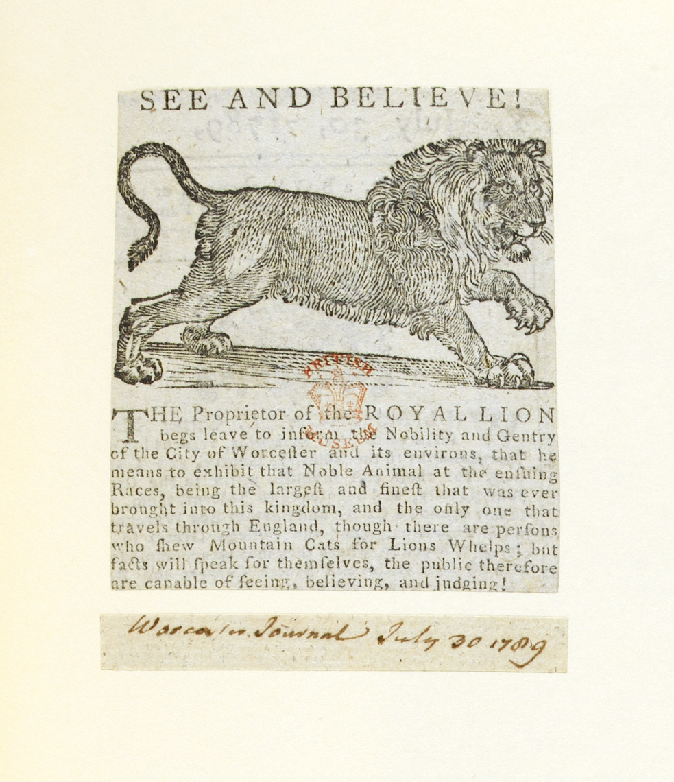See and believe! An exhibition of the 'Royal Lion'