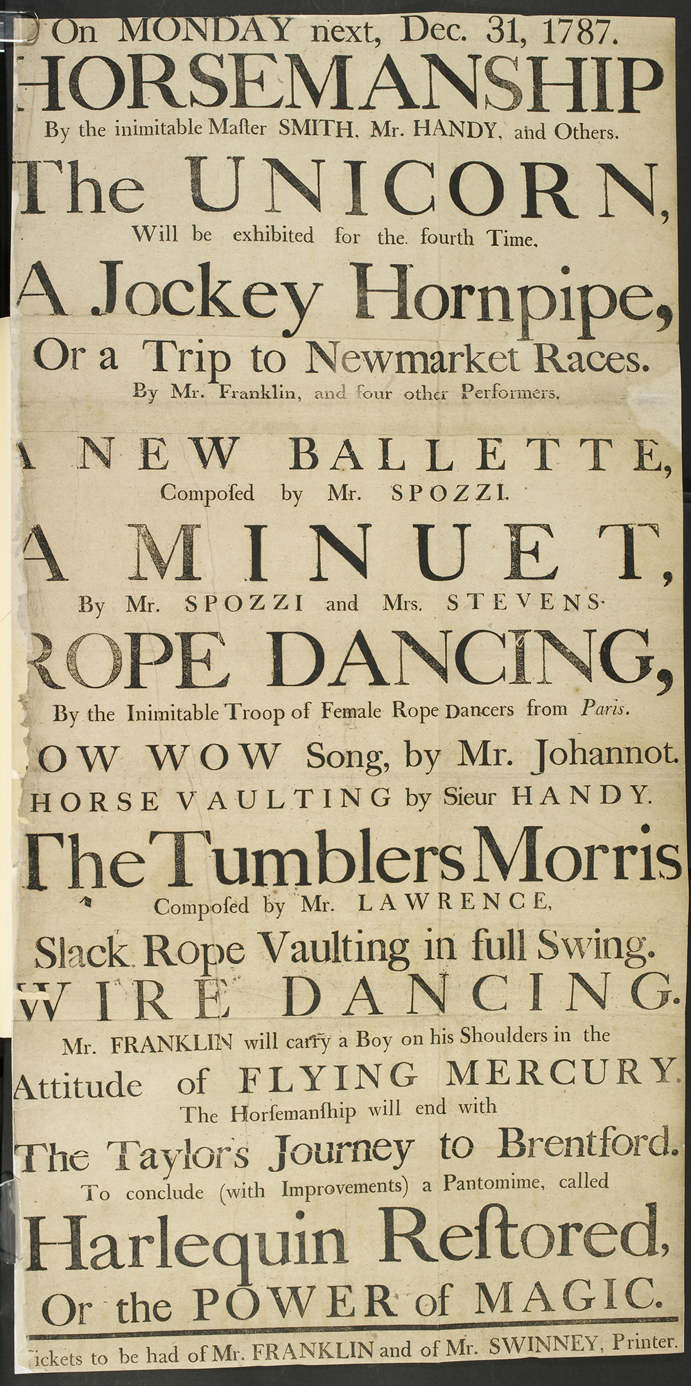 Poster advertising a variety of theatre entertainments, 1787