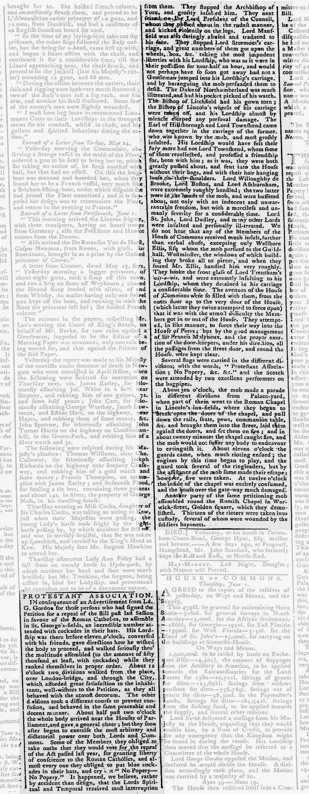 Newspaper report of the Gordon riots, 1780