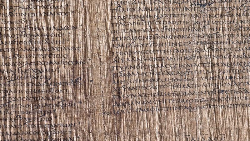 A detail from the Bankes Homes, a 2nd-century papyrus featuring the final book of the Iliad.