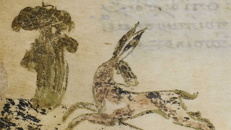 A detail from the Harley Greek Gospels, featuring a marginal illustration of a hare pursued by a dog.