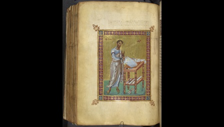 A page from The Guest-Coutts New Testament (f162v) shows a portrait of St Luke