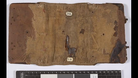 The outside of a detached Byzantine binding, made from wooden boards formerly covered in leather.