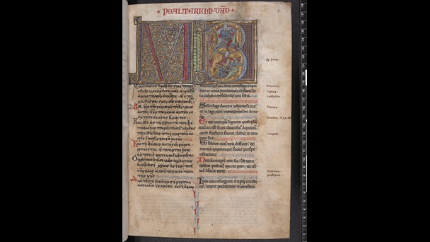 The opening of a bilingual Psalter, showing the text of the Psalms in Latin and Greek, arranged in parallel columns, with a decorated initial on the left and a historiated initial on the right depicting King David with a harp and his defeat of Goliath.