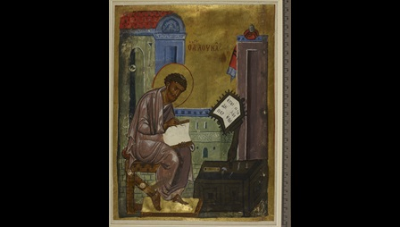A full-page portrait of the Evangelist St Luke, from the Askew Gospel-book.