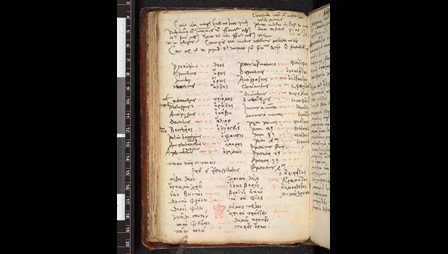 A text page from the Notebook of Johannes Cuno listing Greek and Latin words in parallel columns.