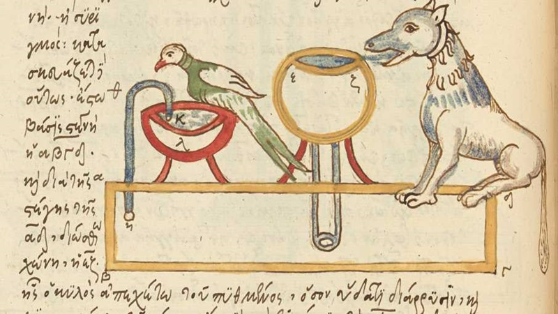 A coloured diagram of a fountain with bird, a quadruped, and scientific apparatus, from a 16th-century collection of Greek military and technical treatises.