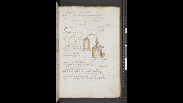 A page from a 16th-century manuscript of Hero's Pneumatika, featuring a pen diagram of scientific apparatus.
