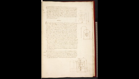 A page from a collection of mechanical treatises by Hero of Alexander, featuring marginal diagrams.