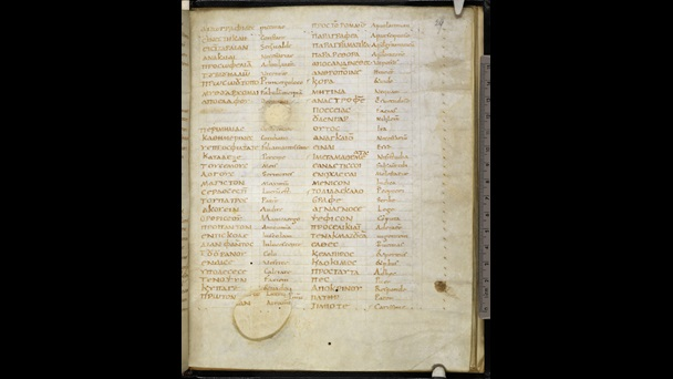 A page from a Carolingian Greek Grammar, featuring parallel columns of Latin and Greek words.