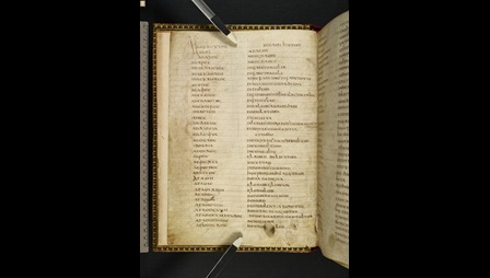 Greek-Latin Glossary of Pseudo-Cyril (Harley MS 5792 f001v)