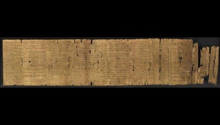 A 1st-century papyrus roll, featuring the text of Aristotle's work On The Constitution of Athens, written in Ancient Greek.