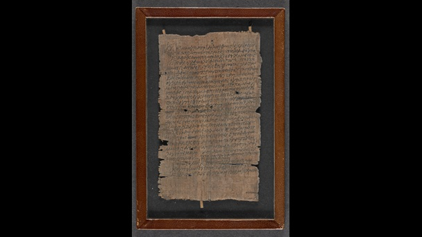 A reused papyrus sheet, featuring a letter from a schoolboy to his father.