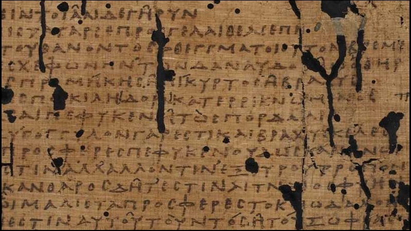 A fragmentary 2nd-century papyrus, preserving sections of Sophocles'play The Trackers.