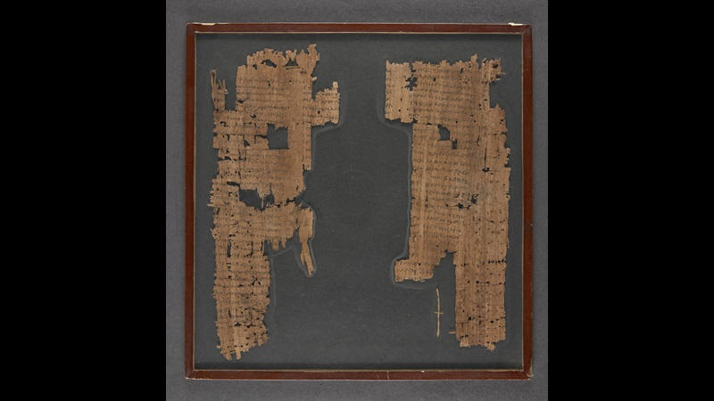 A 2nd-century papyrus fragment, preserving two rhetorical exercises.