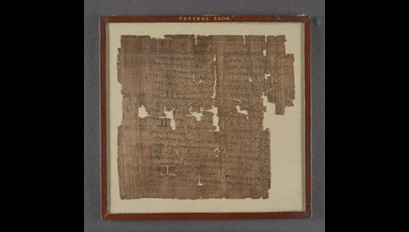 An early 3rd-century papyrus, preserving the will of Lucius Ignatius Rufinus, written in Latin, with a copy of his signature in Ancient Greek.