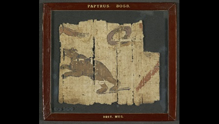 A fragment of an illuminated papyrus, featuring an illustration of a bear in an arena.