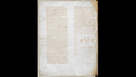 A page from Codex Alexandrinus, featuring the Gospel of St Luke, with a decorative colophon.