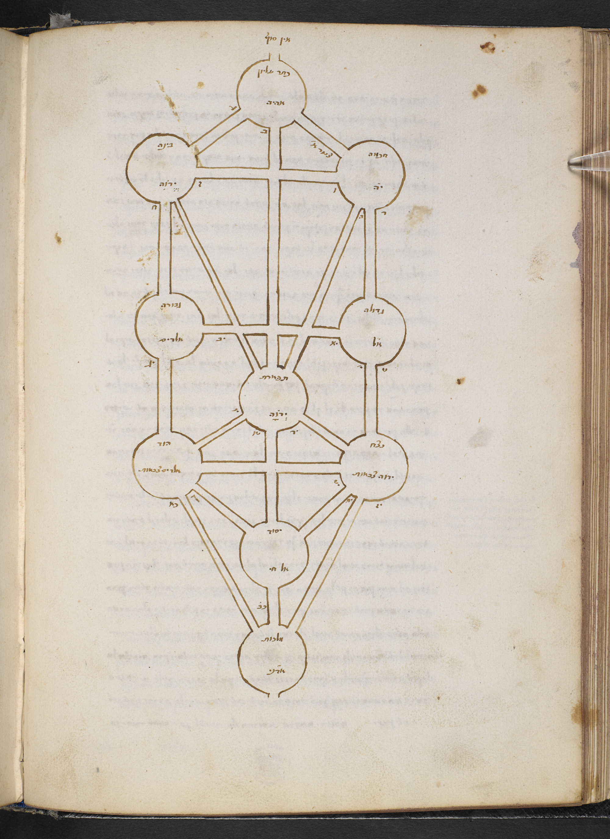 Arboreal diagram, Kabbalah: An abridgment of a kabbalistic treatise, Add MS 27091, Hebrew Manuscripts Digitisation Project, British Library