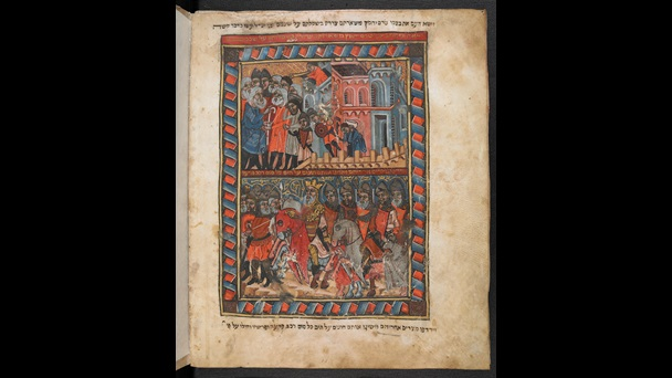 The Children of Israel liberated from bondage, leave Egypt in another illustrated haggadah from Catalonia, c. 1330 CE, The Brother Hagadah: Haggadah with commentary and liturgical poems for Passover, Or 1404, Hebrew Manuscripts Digitisation Project, British Library