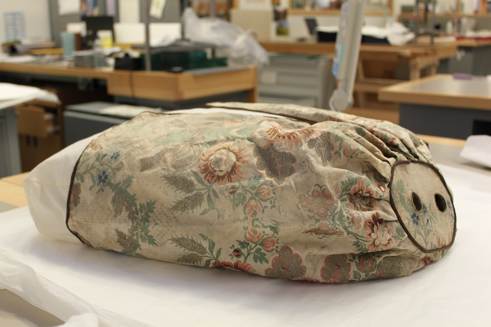 After conservation, mantle supported on bespoke cushion, Or 13027/2, Hebrew Manuscripts Digitisation Project, British Library