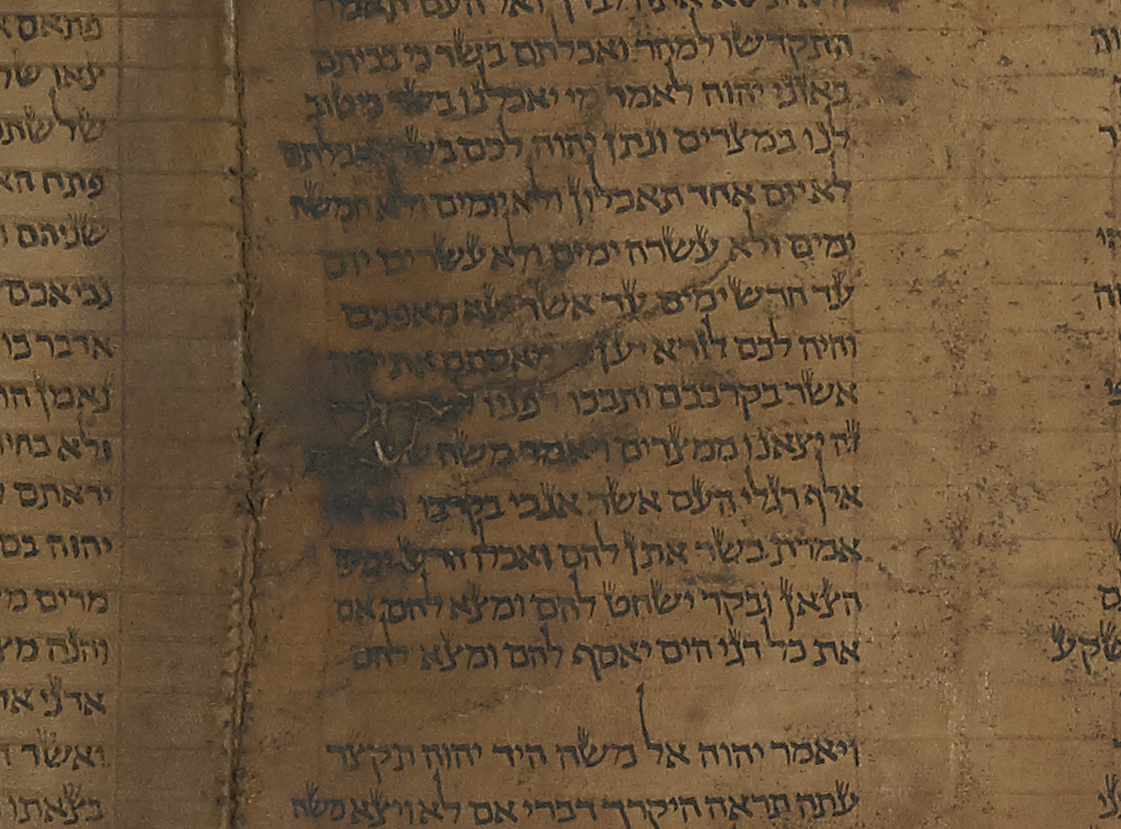 Sewing is too tight and the holes too close together. The leather surface is also crazed and inflexible in part (top part of sixth column), Or 1462, Hebrew Manuscripts Digitisation Project, British Library