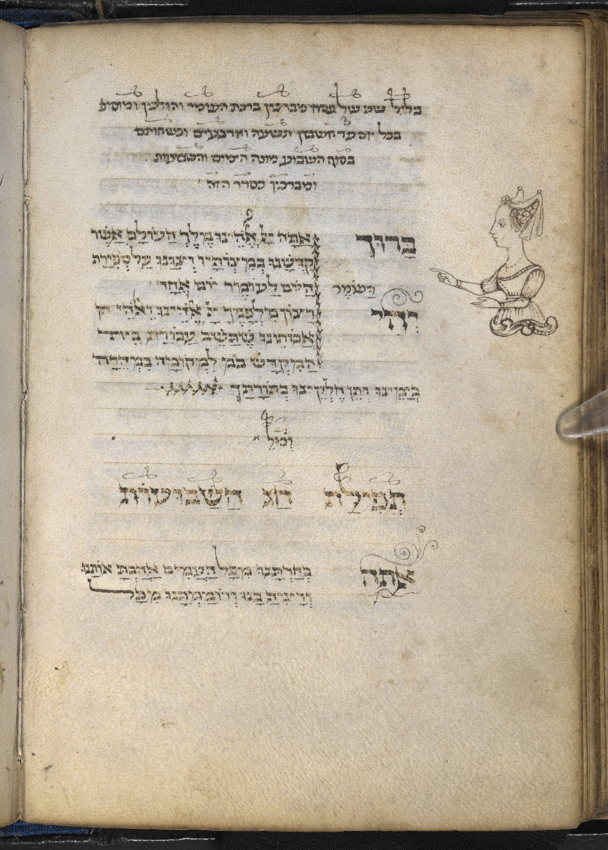 Illustration of a woman pointing to the text for the counting of the Omer, Italy, 1469 CE, Add MS 26957, Hebrew Manuscripts Digitisation Project, British Library