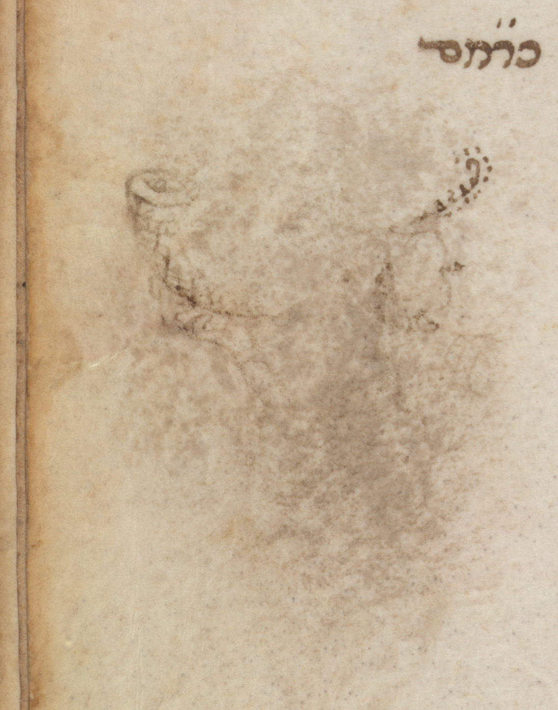 Colour image showing the erased decoration in the margin, Add MS 26957, Hebrew Manuscripts Digitisation Project, British Library