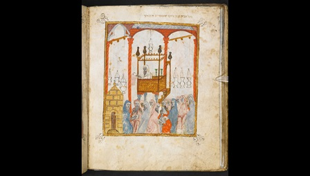 The Haggadah is being recited at the eve of Passover in a 14th-century CE Catalan synagogue, and a Sephardic family is celebrating the Passover ceremony, Catalonia, c. 1325 CE, The Sister Hagadah: Haggadah for Passover, Or 2884, Hebrew Manuscripts Digitisation Project, British Library