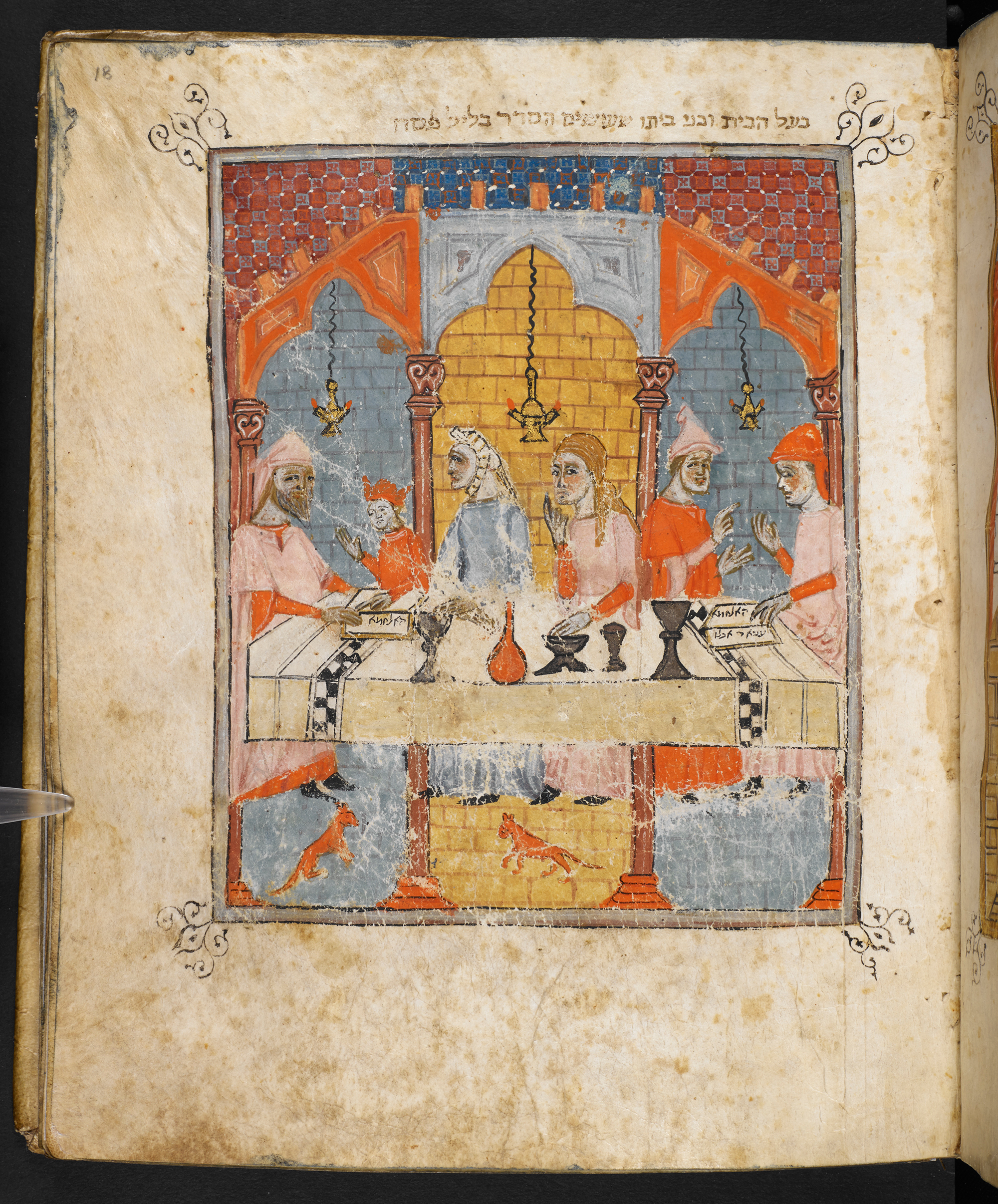 The Seder, The Sister Hagadah: Haggadah for Passover, Or 2884, Hebrew Manuscripts Digitisation Project, British Library