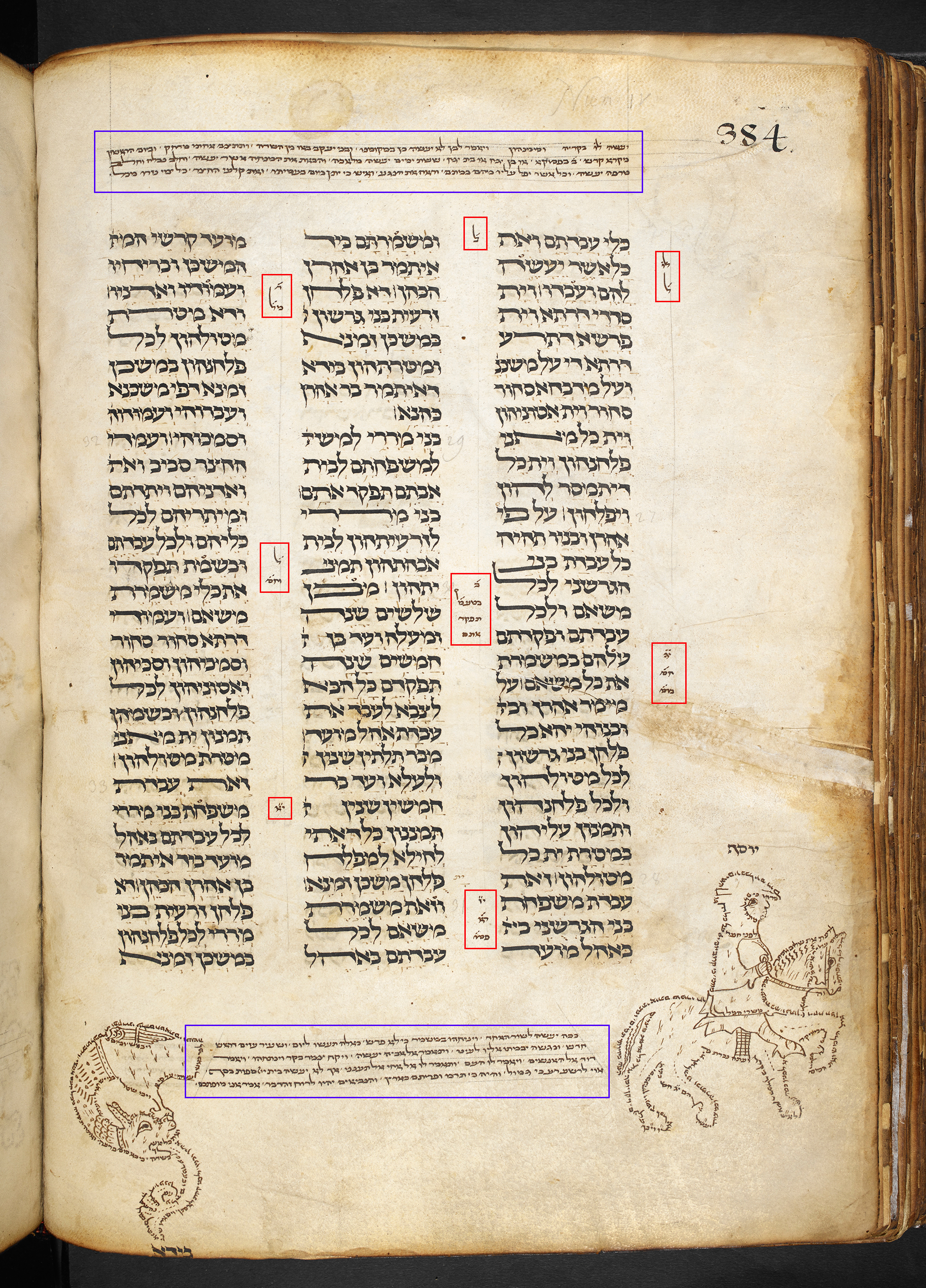 Masorah magna (marked in blue) and masoarh parva (marked in red). Jonah Pentateuch, Germany, second half of 13th century CE, Add MS 21160, Hebrew Manuscripts Digitisation Project, British Library