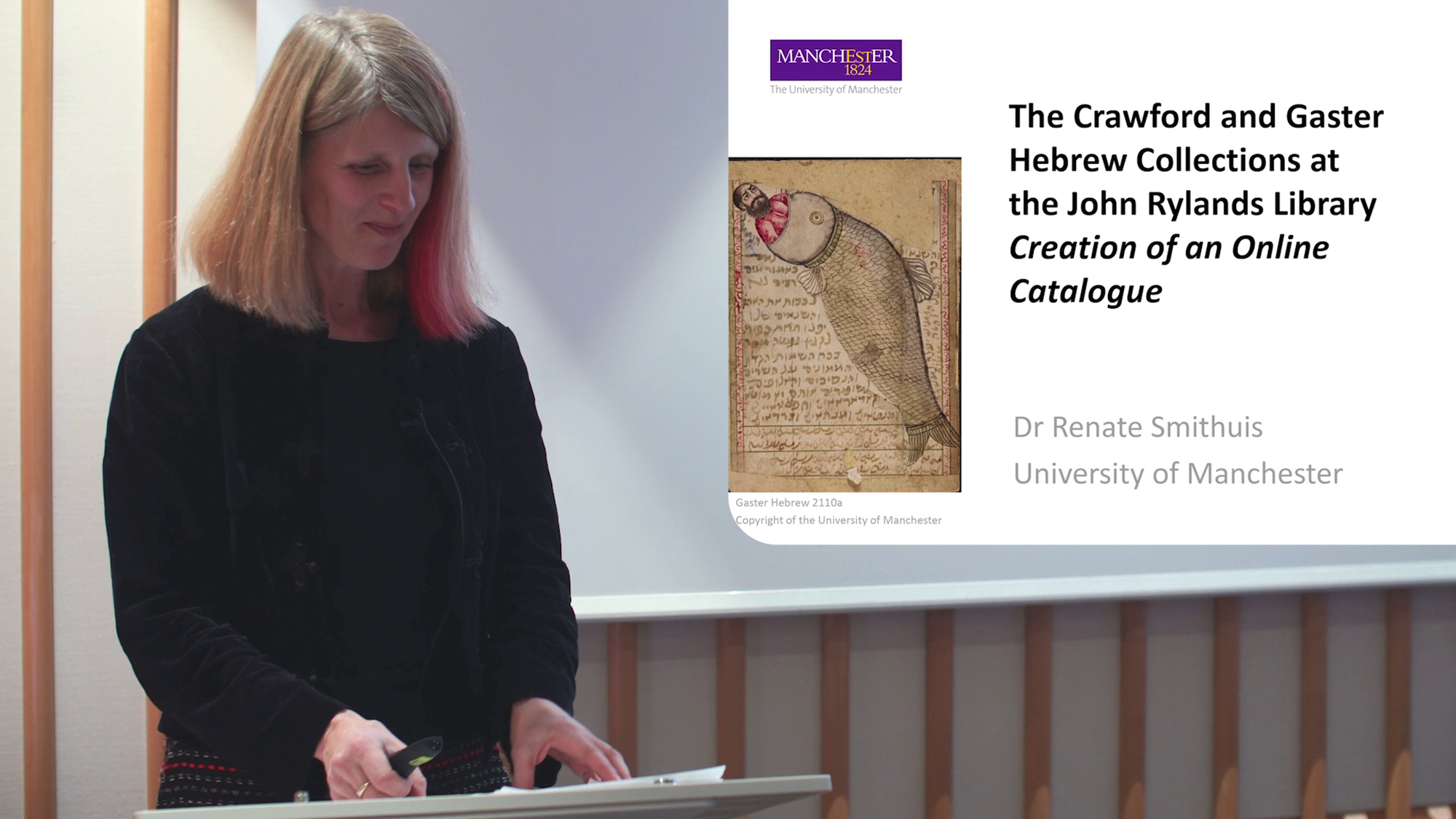 Dr Renate Smithuis, Lecturer in Medieval Jewish Studies, University of Manchester presents the externally funded project currently undertaken at the John Rylands Library on its collection of Hebrew manuscripts. The objects comprise codices, scrolls, amulets and other texts in Hebrew script . The great variety of the collection is being captured in text  and image with the aim of producing a complete online catalogue as part of a new digital platform.