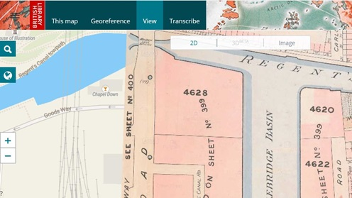 A screenshot of the British Library's Georeferencer.