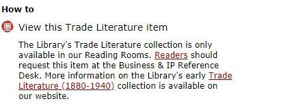 'How to access Trade Literature items' service seen in the 'I want this' tab for Trade Literature records in our catalogue, Explore the British Library.