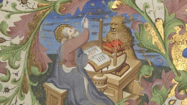 Mark writing his Gospel, accompanied by his symbol, the lion, in a Bible historiale, Additional MS 18856, f. 3 (detail).